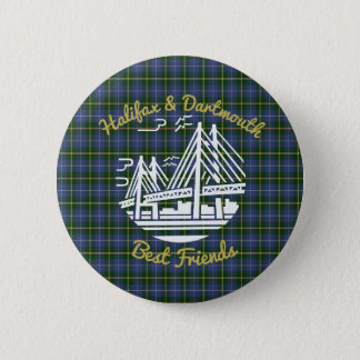 Halifax Dartmouth friends tartan Button pin Badge
