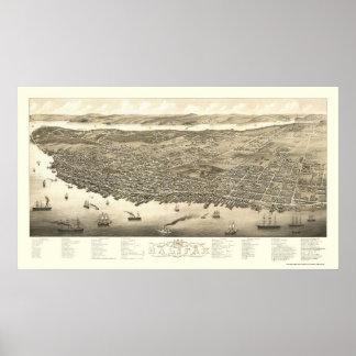 Halifax, NS, mapa panorámico de Canadá - 1879 Póster