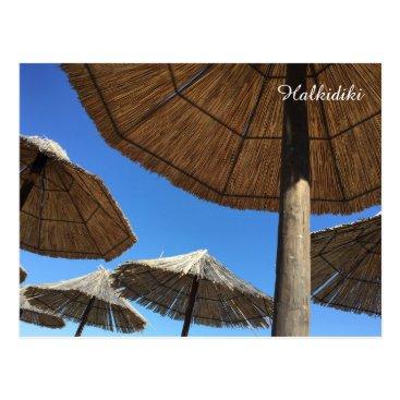 Beach Themed Halkidiki Beach Umbrellas Photo Postcard
