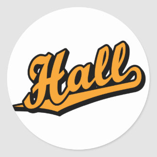 Hall in Orange Classic Round Sticker