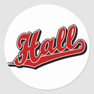 Hall in Red Classic Round Sticker