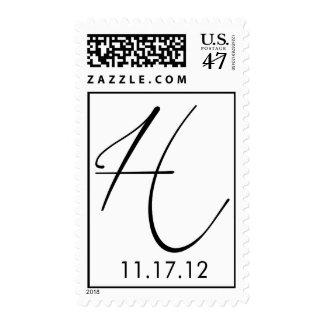 Hall Monogram with wedding date Postage