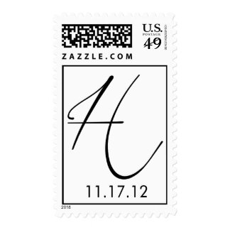 Hall Monogram with wedding date Postage