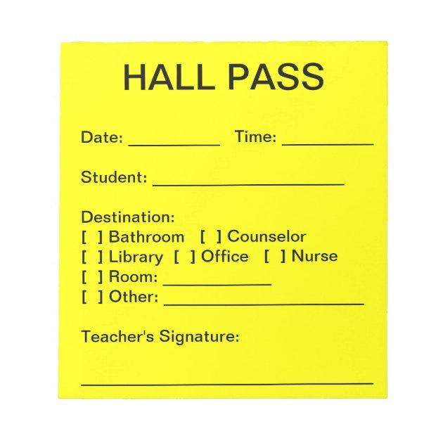 Hall Pass Pad | Zazzle