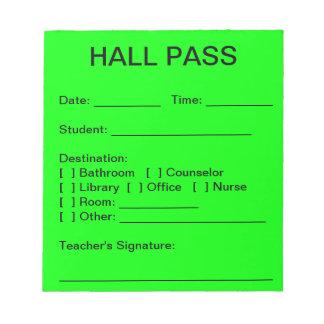 Hall Pass Pad (Neon Green)