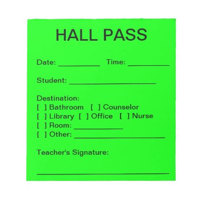 Hall Pass Printables Idas Ponderresearch Co