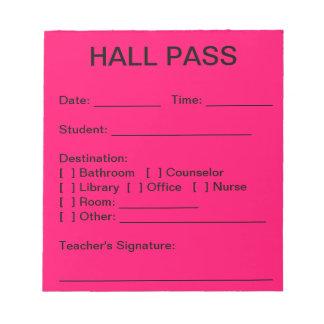 Hall Pass Pad (Neon Pink)