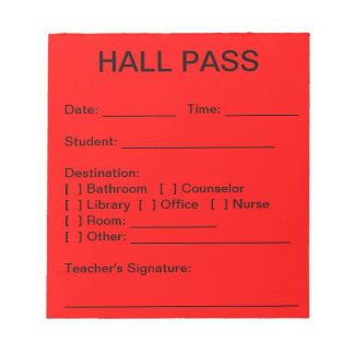 Hall Pass Pad (Red)
