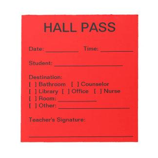 Hall Pass Pad (Red)