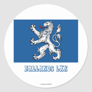 Hallands län flag with name classic round sticker