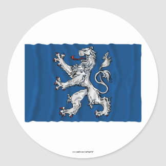 Hallands län waving flag classic round sticker
