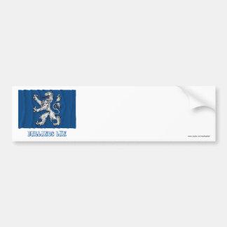 Hallands län waving flag with name car bumper sticker