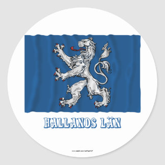 Hallands län waving flag with name classic round sticker