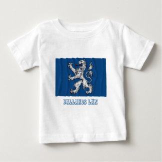 Hallands län waving flag with name tee shirt
