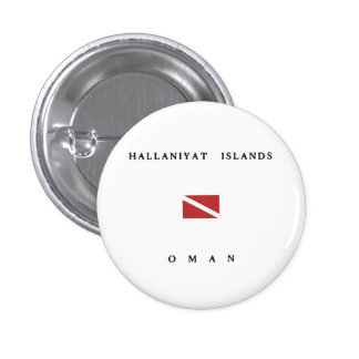 Hallaniyat Islands Oman Scuba Dive Flag Pinback Buttons