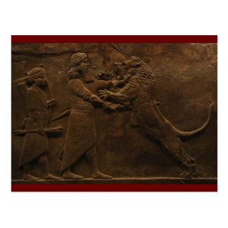 Hallazgo arqueológico: Fresco asirio de la caza Tarjetas Postales