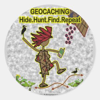 Hallazgo de la caza de la piel de Geocachnig Pegatina Redonda