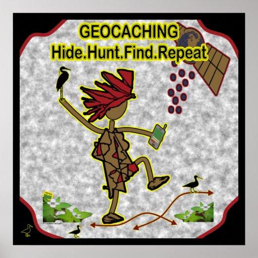 Hallazgo de la caza de la piel de Geocachnig Póster