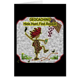 Hallazgo de la caza de la piel de Geocachnig Tarjeta De Felicitación