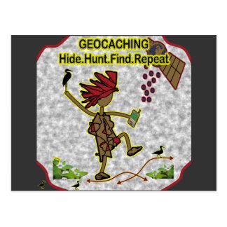 Hallazgo de la caza de la piel de Geocachnig Tarjeta Postal