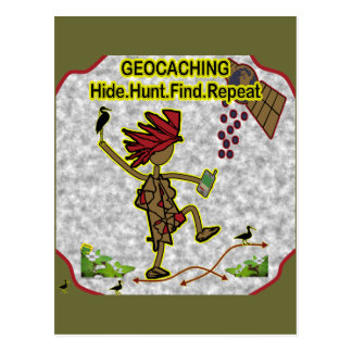 Hallazgo de la caza de la piel de Geocachnig Tarjetas Postales