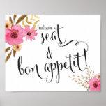 Hallazgo floral rosado su Seat y boda de Appetit Póster