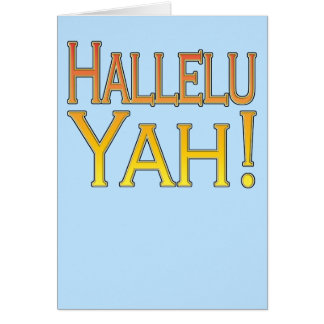 Hallelu Yah! (gold on blue) easter card