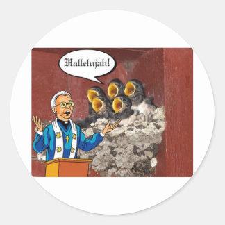Hallelujah! Bird choir singing the Lord's praises Classic Round Sticker