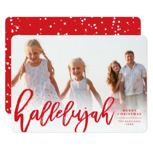 Hallelujah Brush Religious Christmas Photo Card at Zazzle