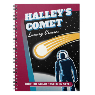 Halleys Comet Retro Sci-Fi Illustration Notebook
