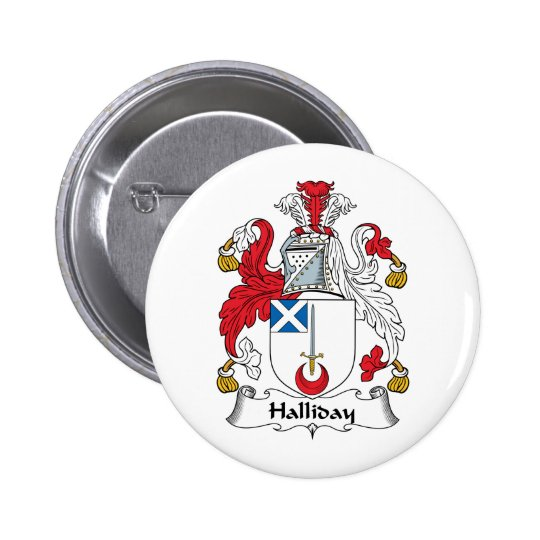Halliday Family Crest Pinback Button