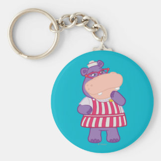 Hallie el hipopótamo feliz llavero redondo tipo pin