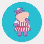 Hallie el hipopótamo feliz pegatina redonda