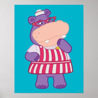 Hallie el hipopótamo feliz póster