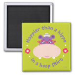 Hallie -Happier Than a Hippo in a Hoop Skirt 2 Inch Square Magnet