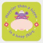 Hallie - más feliz que un hipopótamo en una falda calcomania cuadradas
