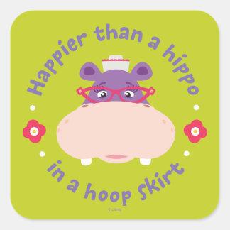 Hallie - más feliz que un hipopótamo en una falda pegatina cuadrada