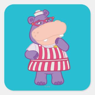 Hallie the Happy Hippo Square Sticker