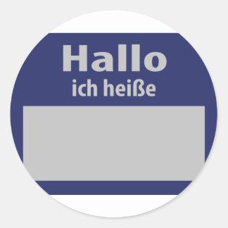 hallo, ich heisse symbol classic round sticker