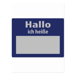 hallo, ich heisse symbol postcard