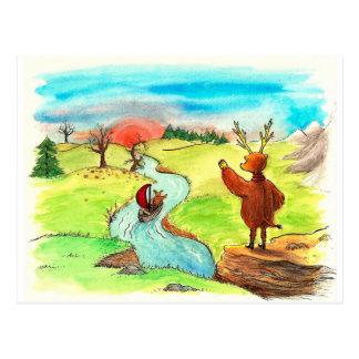 Hallo Moose Bear Postcard