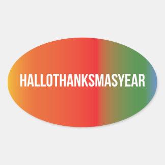 HalloThanksMasYear Oval Sticker