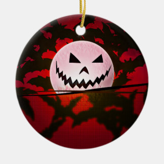Hallow art design Double-Sided ceramic round christmas ornament