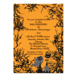 😻 Cute Halloween Cats Orange & Black Wedding Invitation