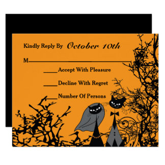 Hallowedding Cats Wedding RSVP Card