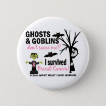 Halloween 1 Breast Cancer Survivor Pinback Button