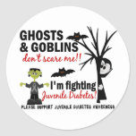 Halloween 1 guerrero de la diabetes juvenil etiqueta redonda