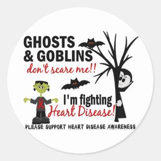 Halloween 1 guerrero de la enfermedad cardíaca pegatinas redondas