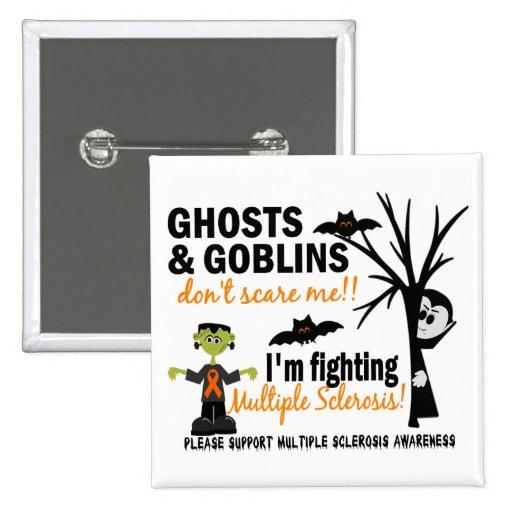 Halloween 1 guerrero de la esclerosis múltiple pin cuadrada 5 cm