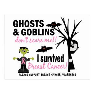 Halloween 1 superviviente del cáncer de pecho tarjetas postales